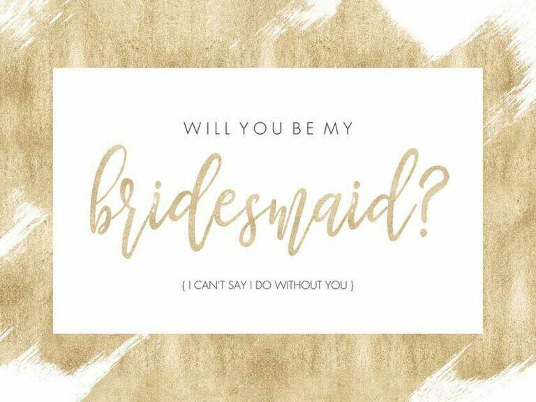 gold bridesmaid proposal card