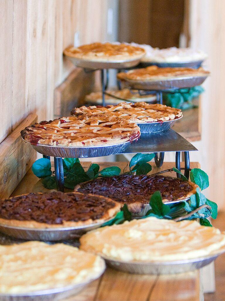 Pie dessert station for a wedding reception