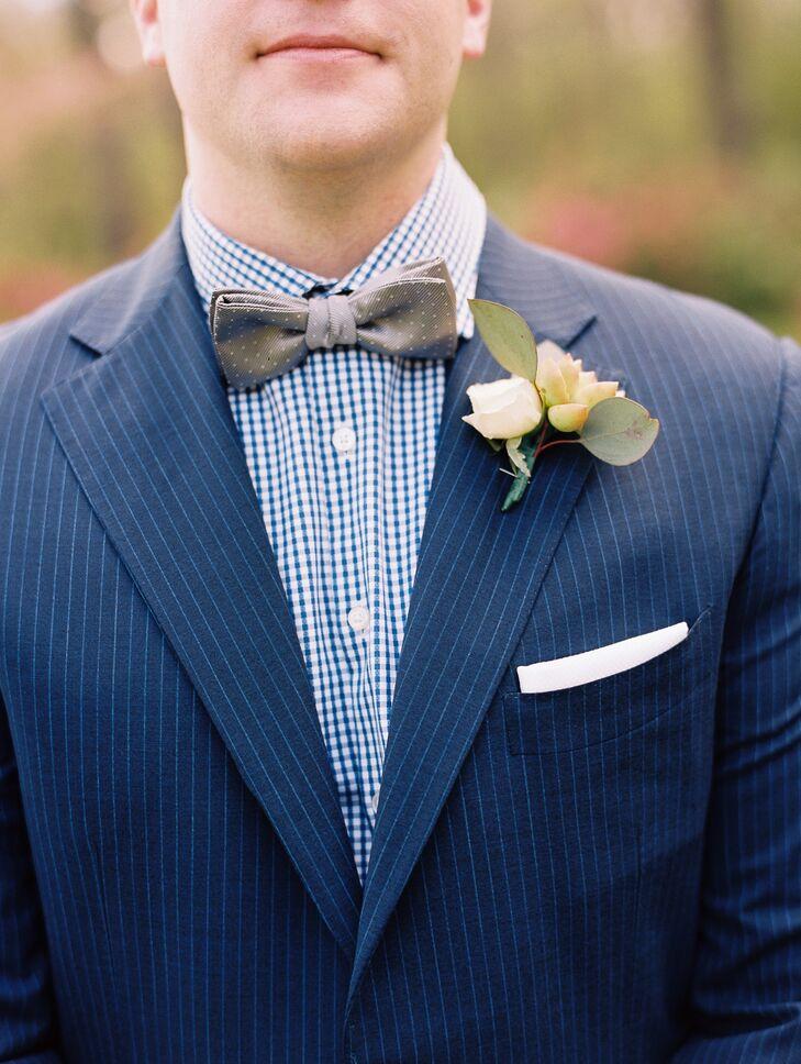 Polka-Dot Bow Tie and Check-Print Shirt