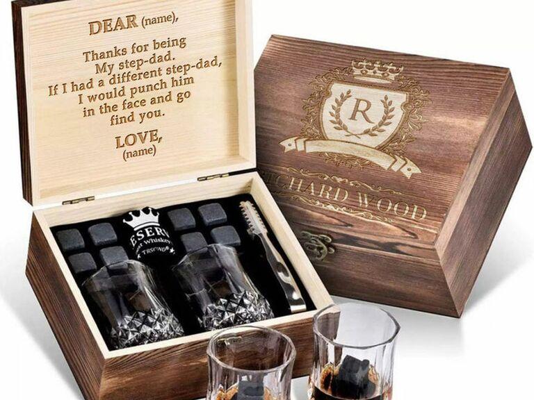 personalized stepdad whiskey set