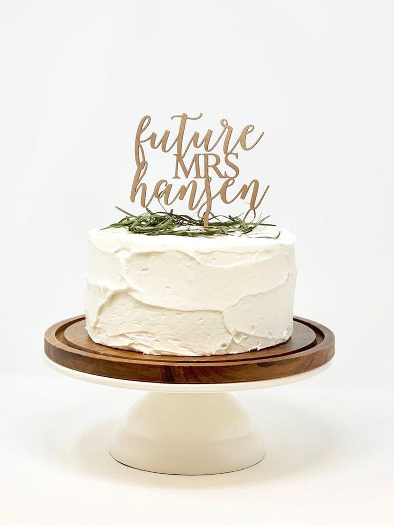 'Future Mrs...' personalized name in gold script
