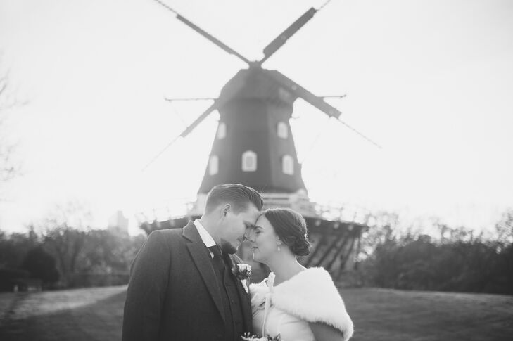 """Louise and Oscar were married at Malmö Art Museum in Malmö, Sweden. This museum is located in a historic castle surrounded by a moat. """"It seemed appropriate to get married at a museum since our wedding theme was inspired by Wes Anderson's films,"""" Louise says. In one of the director's most famous movies, 'The Royal Tenenbaums,' two characters camp out in a museum."""