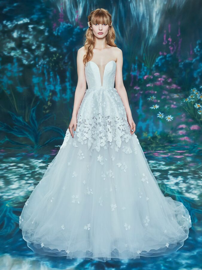 Ines Di Santo strapless ball gown with plunging sweetheart neckline