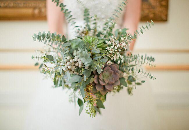 eucalyptus bridal bouquet | Caitlin Thomas Photography | Blog.theknot.com