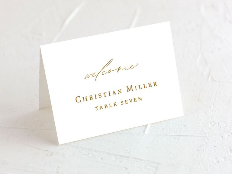 wedding place cards gold theme