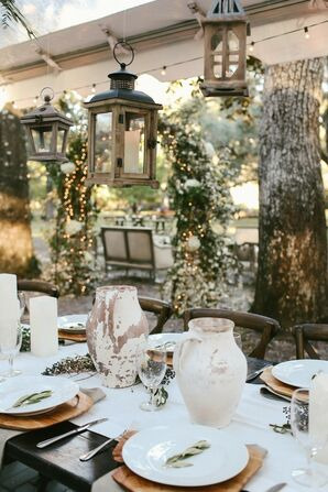 Unfinished Pottery, Willows and Eucalyptus Filled the Wedding Reception
