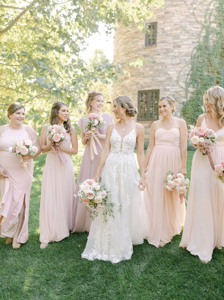Bridesmaids in Long Blush Dresses at Kestrel Park in Santa Ynez, California