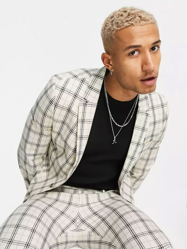 casual wedding attire for men patterned suit