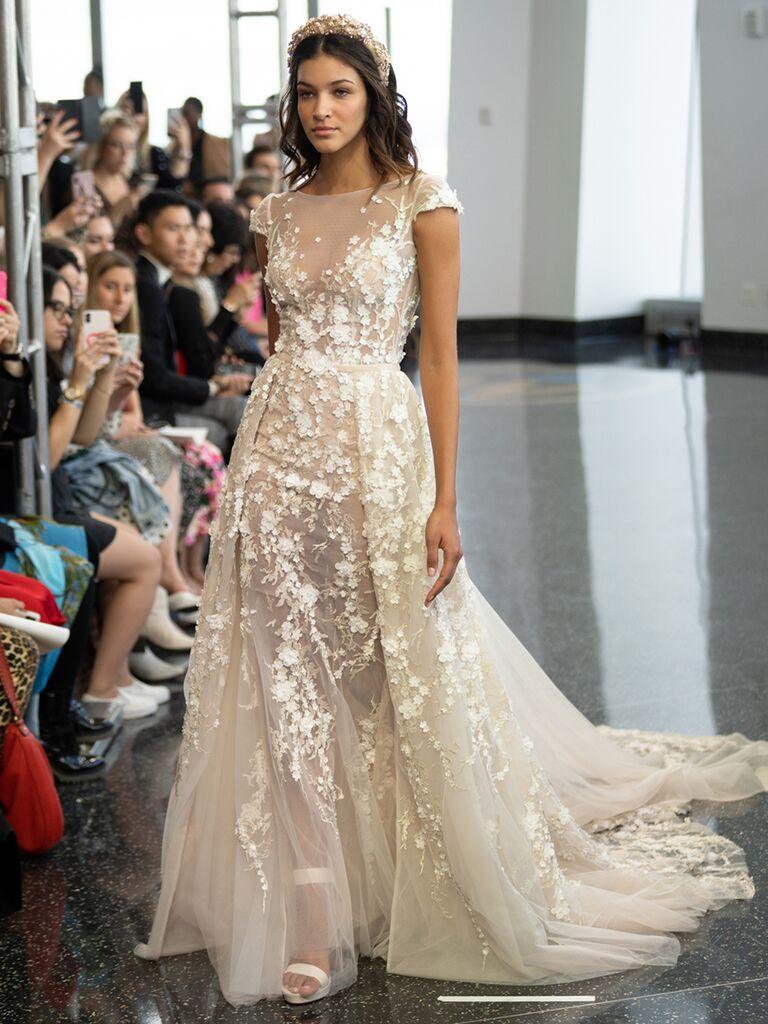 berta short sleeve gown illusion sheer dress