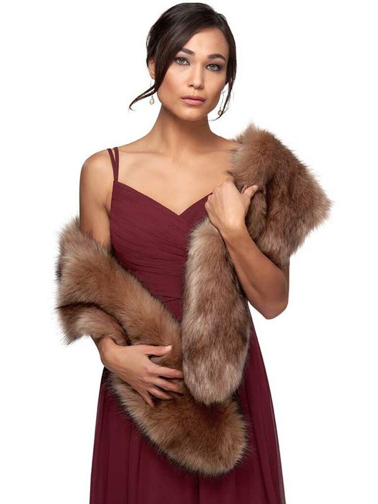 Brown faux fur wedding stole