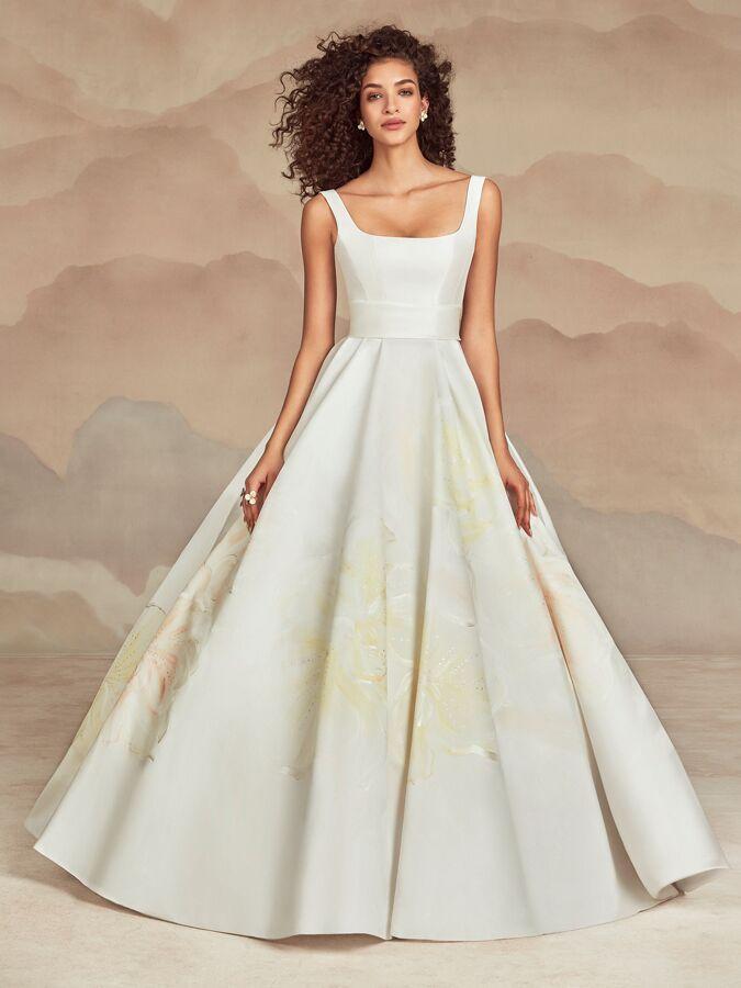 Ines Di Santo ball gown with square neckline