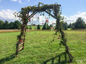 Rustic Floral Wedding Arch with Hanging Vases