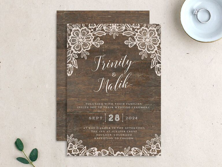 Rustic lace and woodgrain wedding invitation