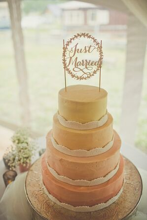 Blush and Gold Ombre Wedding Cake