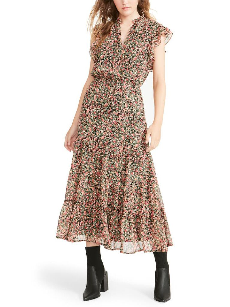 Pink and green floral print midi fall wedding guest dress