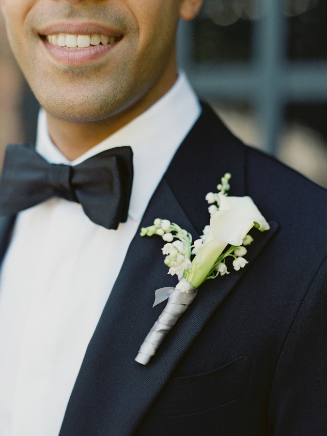 Calla lily and lily of the valley boutonniere