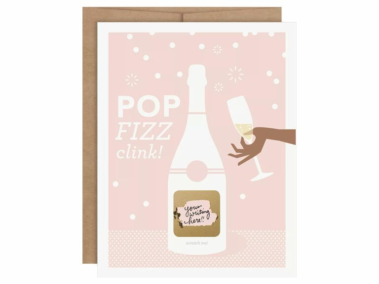 scratch off bridesmaid proposal card with champagne bottle