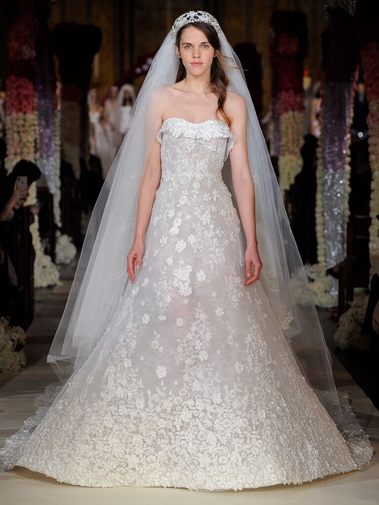 Reem Acra Spring 2020 Bridal Collection strapless floral appliqué wedding dress