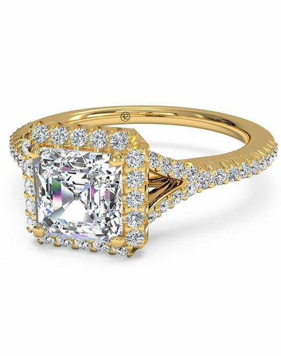 Ritani Asscher Cut French-Set Halo Diamond 'V' Band Engagement Ring in 18kt Yellow Gold (0.23 CTW) Engagement Ring photo
