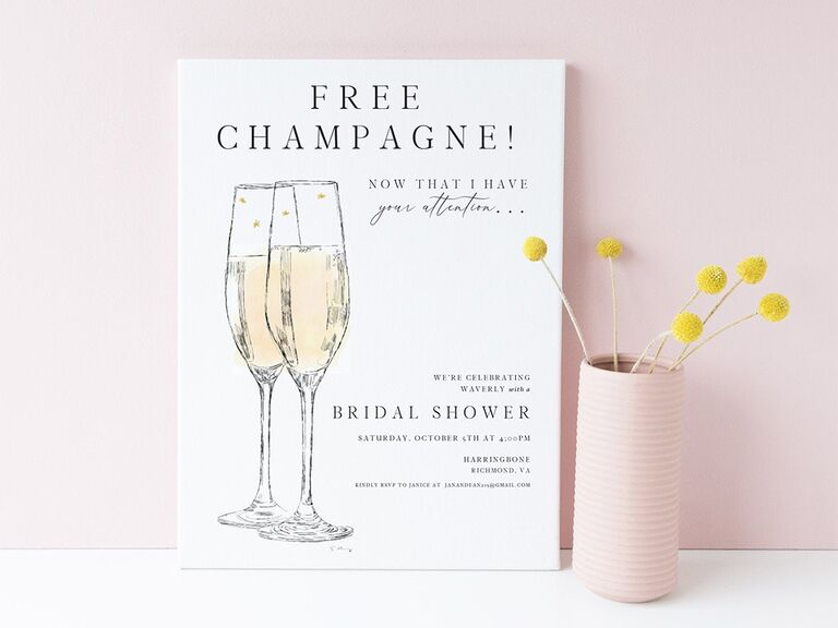 'Free champagne! Now that I have your attention...' and champagne flute graphics on white background