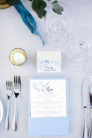 Preppy Menus with Blue Watercolor Flower Illustrations and Blue Linens
