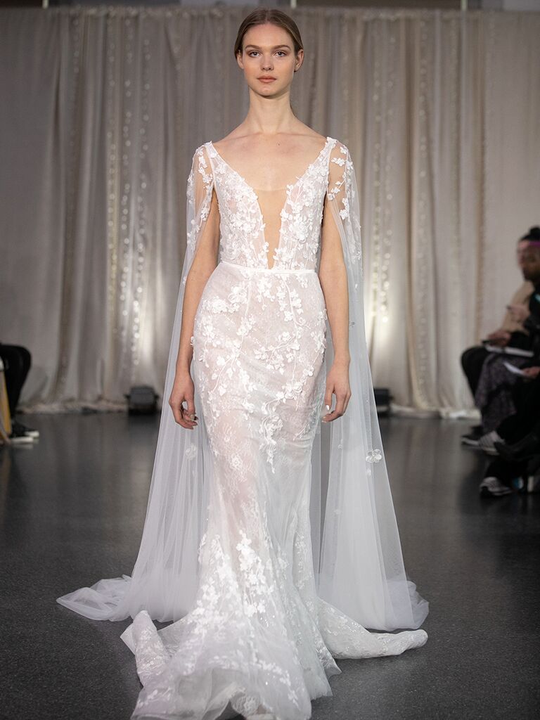 Sheer Lace Mermaid Wedding Dress with Cape