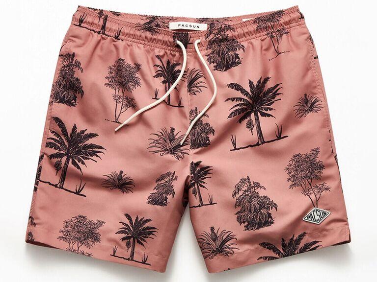 pink palm tree swim trunks