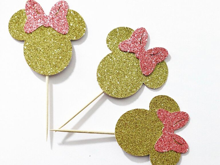 Gold glittery Minnie ears with pink bow