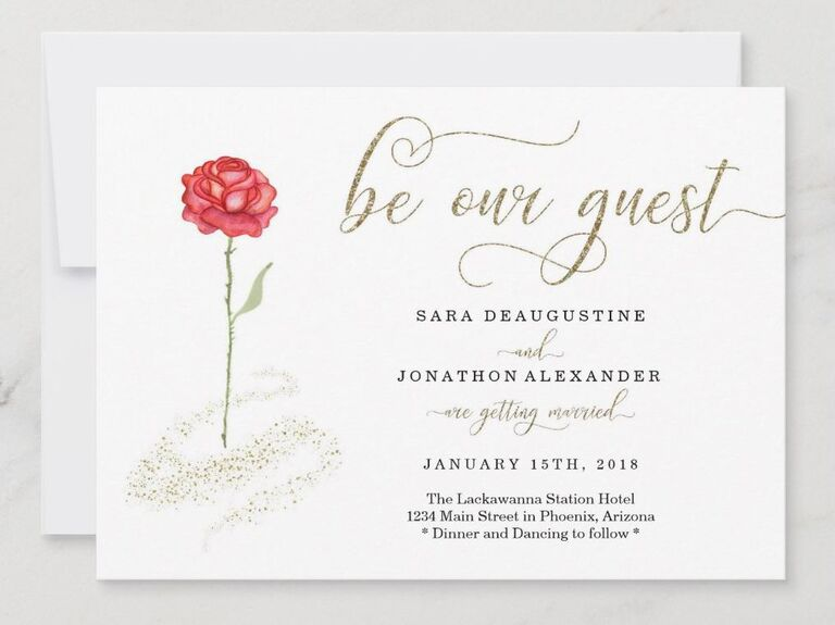 Affordable fairytale-theme wedding invitation
