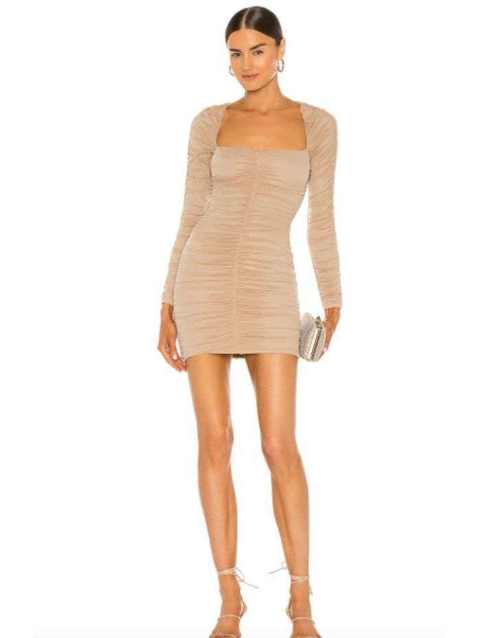 Taupe long sleeve ruched bodycon fall wedding guest dress