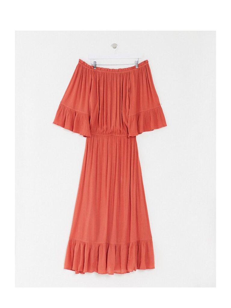 Rust orange off-the-shoulder plus-size maxi dress
