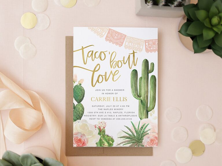 'taco bout love' in gold script with cacti, floral and banner graphics on white background