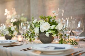 Classic Centerpiece with White Roses, Greenery and Modern Vase