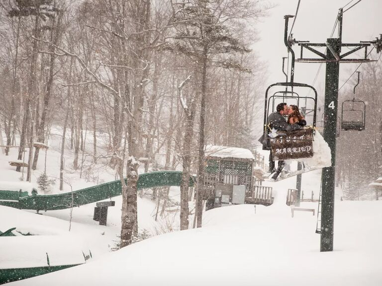 winter wedding ideas chairlift exit