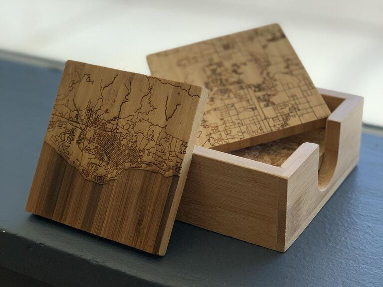 Engraved map coasters gift for boyfriend/girlfriend's parents