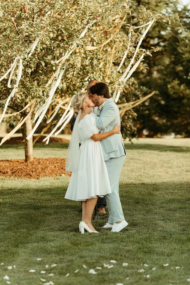 Couple in Vintage-Inspired Wedding Attire
