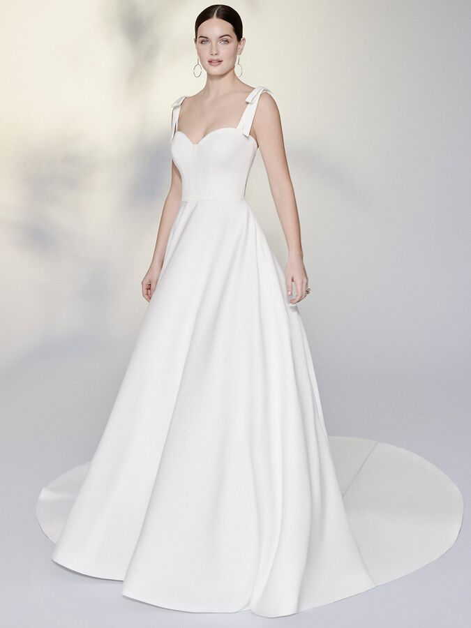 Justin Alexander Signature satin ball gown with detachable shoulder bows