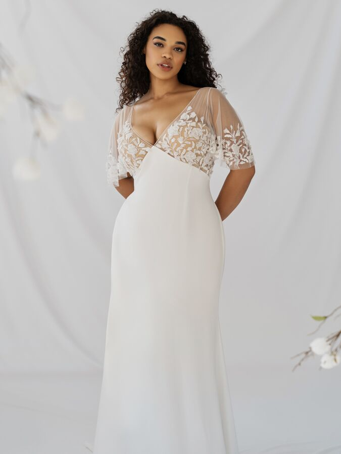 Alexandra Grecco silk crepe and embroidered tulle gown with flutter sleeves and empire waist