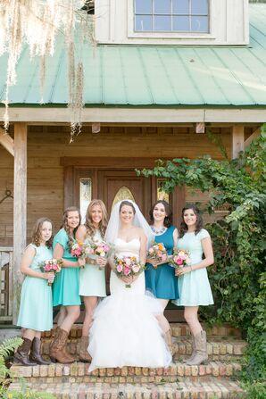 Turquoise, Teal and Aqua Bridesmaid Dresses