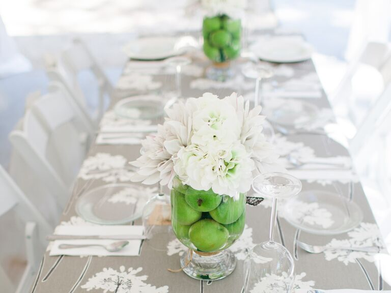Reception centerpieces with fruit fillers