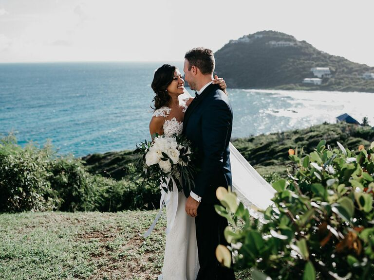 Bride and groom at destination wedding by the ocean