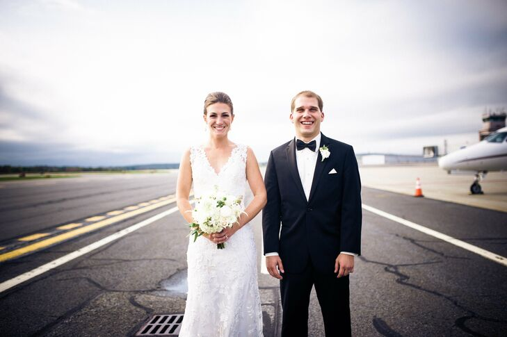 Christina and Scott were married at the Worcester Regional Airport in Massachusetts in a travel-themed wedding with a neutral color palette.