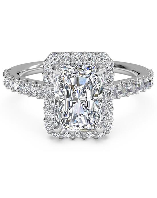 Ritani French-Set Halo Diamond Band Engagement Ring - in 14kt White Gold (0.45 CTW) for a Emerald Center Stone Engagement Ring photo