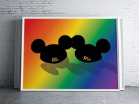 Personalized name Mickey ears art print on rainbow background