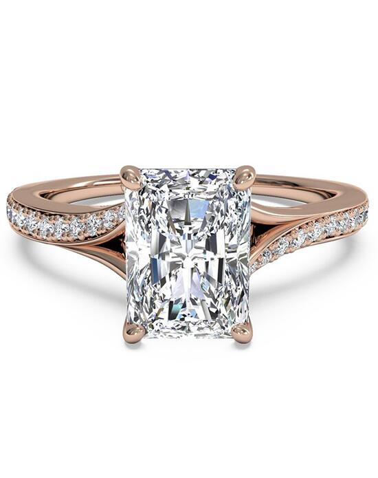 Ritani Modern Bypass Micropavé Diamond Band Engagement Ring - in 18kt Rose Gold - (0.19 CTW) for a Radiant Center Stone Engagement Ring photo