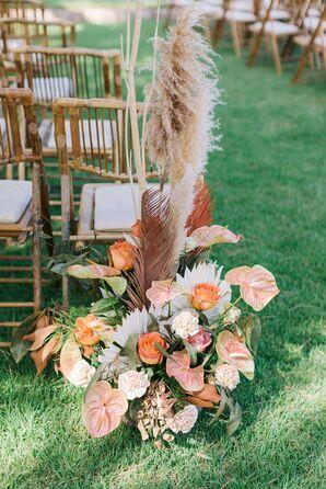 Orange Aisle Flower Arrangement with Anthurium