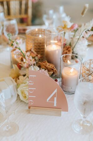 Boho Peach-Hued Table Number at Wequasset Resort in Harwich, Massachusetts