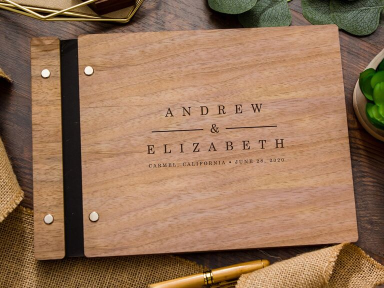 etsy rustic wedding guest book idea with wooden cover