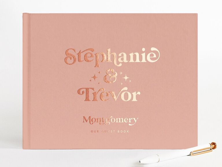 etsy retro pink wedding guest book idea with gold foil
