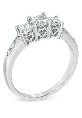 Zales Past Present Future Collection 1 CT T W Princess Cut Diamond 3 Stone